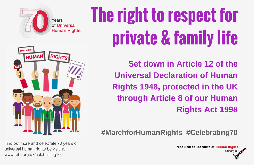 March for Human Rights: the Right to Respect for Private & Family Life