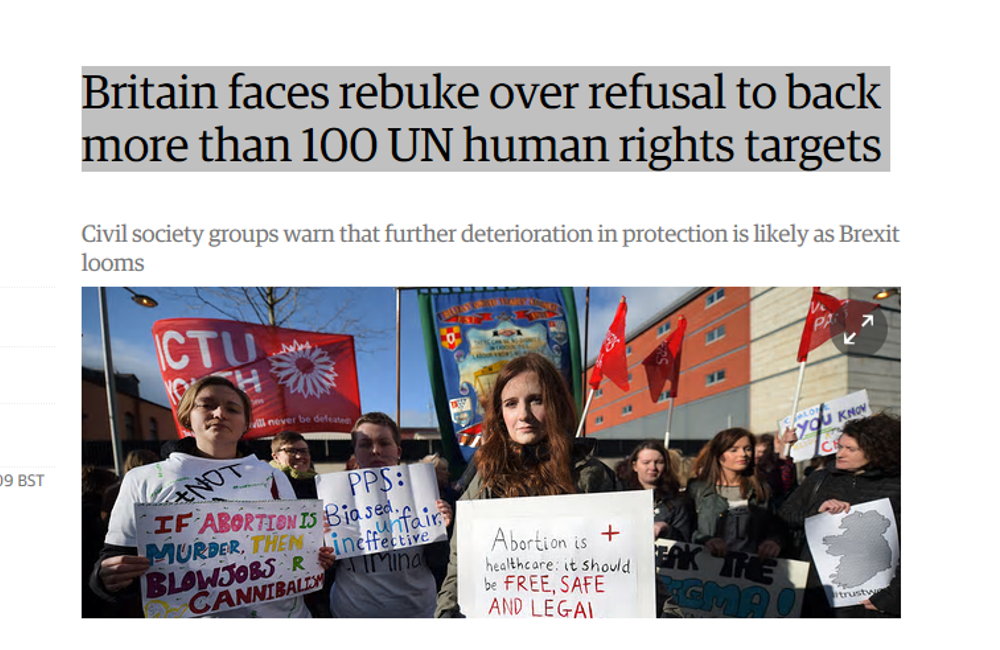 BIHR on UK refusal to back 100+ UN human rights targets
